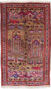 4. War rug, Moscheen als Lebensmittelpunkt, Taymani/ Westafghanistan, ca. 1980/90, 268 x 158 cm