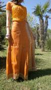 Jupe longue en soie de Bénarès orange soldée
