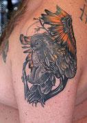 Tatouage chouette couleur par Ginger pepper à Lucky30 Nimes. Tattoo color owl