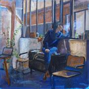 La fille de l'atelier, huile sur toile 60*60 cm, vendu