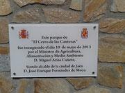 Placa Inauguración Parque Cerro de las Canteras