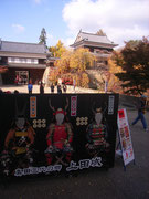 上田城の入り口でむかえる写真スポット。どなたも真田3勇士たちになれるのですね。