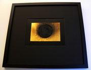"""""""o.T."""", 1963, Rauchbild mit Goldpigment auf Leinwand, 11,7x17,3cm, gerahmt = 41,5x46cm (sold)"""