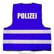 Warnweste blau Polizei und THW sowie Sicherheitsdienst