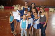 Paula Martínez, Maria Carbó, Coia Moreno, Judith Carbó, Núria Cardona, Carla Herrera, Laura Martínez, Silvia Lahera, Cristina Lahera i Mireia Guinjoan (entrenadora)