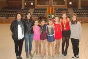 Núria Ramiro, Mireia Guinjoan (entrenadores), Maria Rius, Núria  Besiròvic, Vània Hurtado, Maria Carbó, Paloma E. López i Judith Vicente (entrenadora)