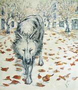 Stadt-Wolf . 230 x 200 cm. Oil on Canvas