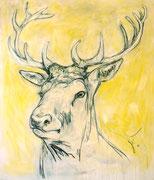 Hirsch auf Gelb . 200 x 170 cm . Oil on Canvas