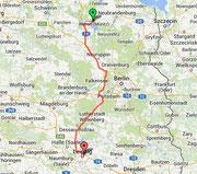 Route nach Leipzig