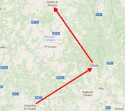 geplante Route über Volpaia nach Greve