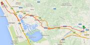 Route von Lucca nach Lido di Camaiore