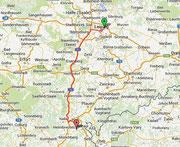Route nach Oberfranken
