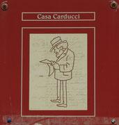 Hinweisschild am Geburtshaus von Carducci