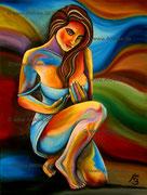 Frau knieend  - 60x80cm //         Juli 2012 ArtAlex