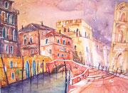 Aquarell Venedig vom Licht durchflutet  45.5 x 61
