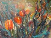 Rote Tulpen im Garten  36 x 48