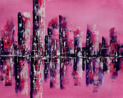 Skyline in Rosa und Violett   40 x 50