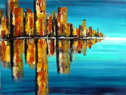 Skyline Spiegelung  46 x 65