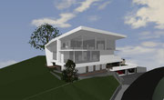 Visueller Entwurf Wohnhaus am Berg mit Sicht über Waldkirch