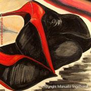 Aquarell auf Tonpapier, Titel: Red Shoes (Ausschnitt), ca. 70 x 50, 2015, www.artboxmunich.de