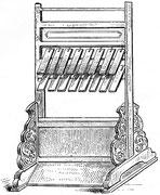 Harmonica d'acier Fang-hiang. Cet instrument se compose de seize lames disposées sur deux rangs, qui ont toutes 22,96 cm de longueur sur 5,73 cm de largeur ; leur épaisseur varie de 2,04 cm à 9,5 mm.