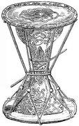 Petit tambour Tchang-kou. Ce petit tambour, dont la peau est tendue sur des cercles de fer, est haut de 61 centimètres, et son diamètre est de 40 centimètres aux deux côtés.