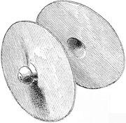 Cymbales Nao. Elles ont 20 centimètres de diamètre, leur poignée en cuivre est percée d'un trou au sommet.