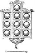 Jeu de gongs Yun-lo. Le Yun-lo se compose de dix gongs qui ont tous 11,11 cm de diamètre et ne varient que d'épaisseur.