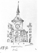 Zeitglockenturm in Bern 1892,18 IV Blei 12,2x18cm ; Bern