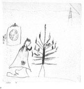 Weihnachtsbaum,Christkind und Uhr 1884,4 Blei Fettkreide 12,2x11,9cm Bern