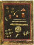 Kind an der Freitreppe 1923,65 Ölfarbe / Feder/Karton 24,5x18,2cm privat CH