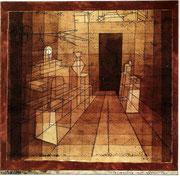 Perspective mit offener Türe 1923, 143; aquarell. Ölpause 26,2x26,8cm; Rosengart Luzern