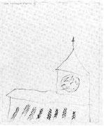 Kirche, die Uhr mit erfundenen Zahlen 1883/84,17; Blei, Fettkreide 22,5x18,1cm Bern