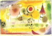 Wintertag kurz vor Mittag 1922 , 6 Öl/Papier 29,8x45,9cm Kunsthalle Bremen