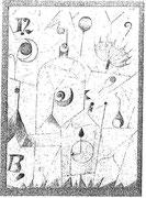 Hieroglyph mit dem Sonnenschirm 1917,96; Blei 19,4x14cm privat CH