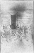 Geisterzimmer mit der hohen Tür 1925 Aquarell 48x29cm ; D.Taylor New York