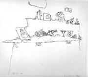 Karikatur eines Möbels 1910 ,15 Feder & Tusche 22,5x26,3cm Bern