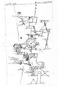 Uhr in der Stadt 1914,188 ;Feder & Tusche 15,3x8,6cm Bern