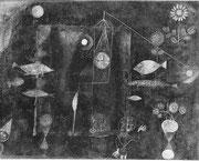 grosses Fischbild-Fischzauber 1925 /85, Öl&Wasserf. 77x89cm, Philadelphia M.A.