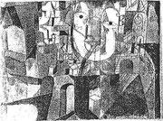 Der Mann auf der Reise 1918,148 ; Aqu./Feder 16,8x148cm; Gal.Maligue Paris