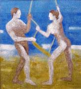 """""""MUJER, HOMBRE Y TIEMPO"""", òleo sobre lienzo, 60x60 cm."""