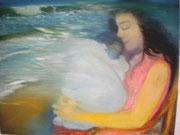Una mujer està felizmente acunando amorosamente a su hijo, que se funde con el mar. El niño tiene su origen en el mar, viene de èl. El mar es el origen y el final de la vida, el compendio de toda la Vida, y la mujer tambièn. Por tanto ella no acuna sòlame