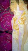"""""""Fusiòn perfecta = Armonia entre los aspectos femenino y masculino, perfecciòn, pureza, luz y amor"""" Nuestro cuerpo lleva el mensaje de nuestra alma. Las rosas color oro simbolizan................................................................."""