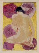 """""""Mujer y rosa"""", òleo sobre lienzo...."""