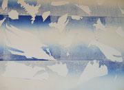 """""""Windgesänge"""", Papierschnitt und Monotypie, 50x35cm, 2004"""