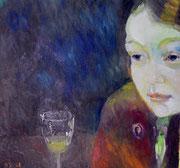 Trinkerin, Öl auf Baumwolle, 2008, Privatsammlung