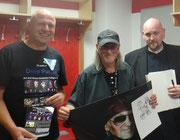 Werbung mit Ralf Schmidt, Vladi Krafft und Roger Glover von Deep Purple