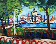 ÜBERMALT   Blick auf den Rhodos-Hafen Mandraki, 40x50 cm, 2013
