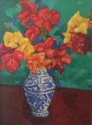 NICHT MEHR ERHÄLTLICH, Gladiolen in Vase, Öl auf Hartfaserplatte, 80x60 cm, 2005