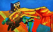 """""""Liegender weiblicher Akt"""", (1. Ölbild auf der Universität für Angewandte Kunst, Wien), Wasservermalbare Ölfarben auf Leinwand, 55x90 cm, 2002"""